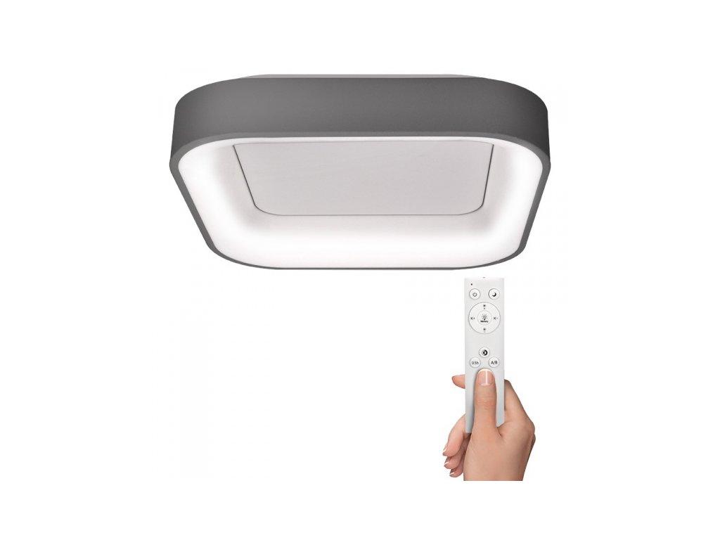 LED stropní světlo čtvercové Treviso, 48W, 2880lm, stmívatelné, dálkové ovládání, šedá