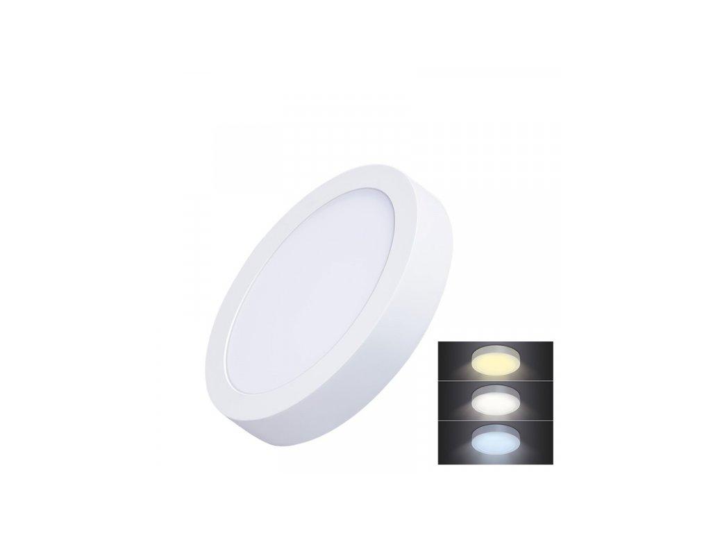 LED mini panel CCT, přisazený, 12W, 900lm, 3000K, 4000K, 6000K, kulatý