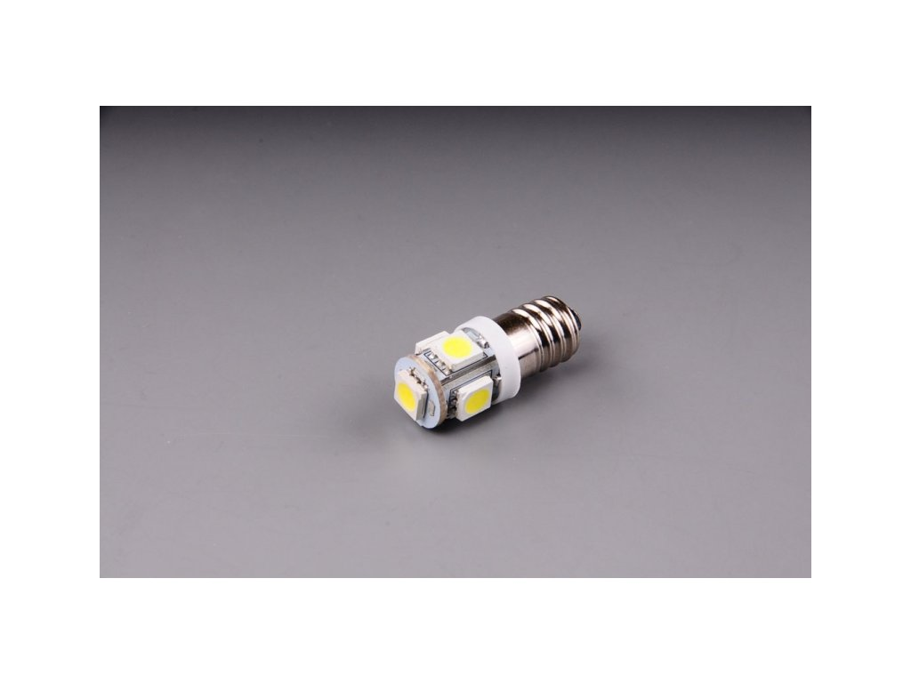 žárovka LED 12V 5W E10 čirá 5xSMD 5050