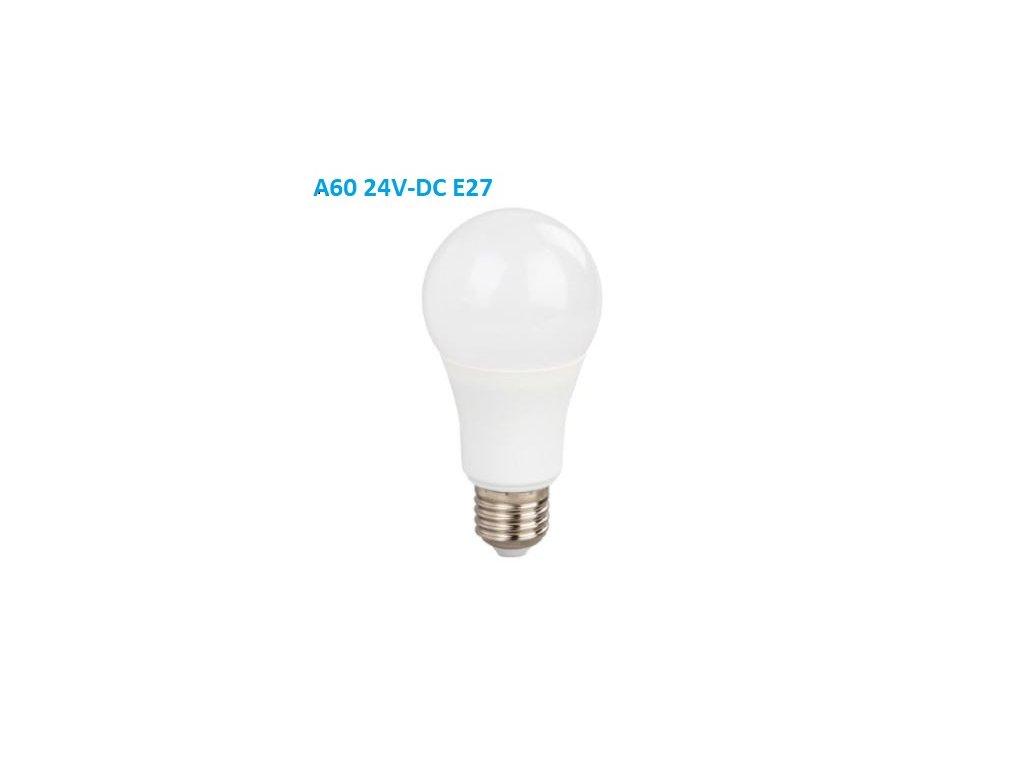 SMD LED žárovka A60 10W/24V-DC/E27/3000K/850Lm/230°