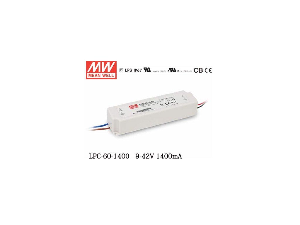 Napájecí zdroj: spínaný LED 58,8W 9÷42VDC 1400mA 90÷264VAC
