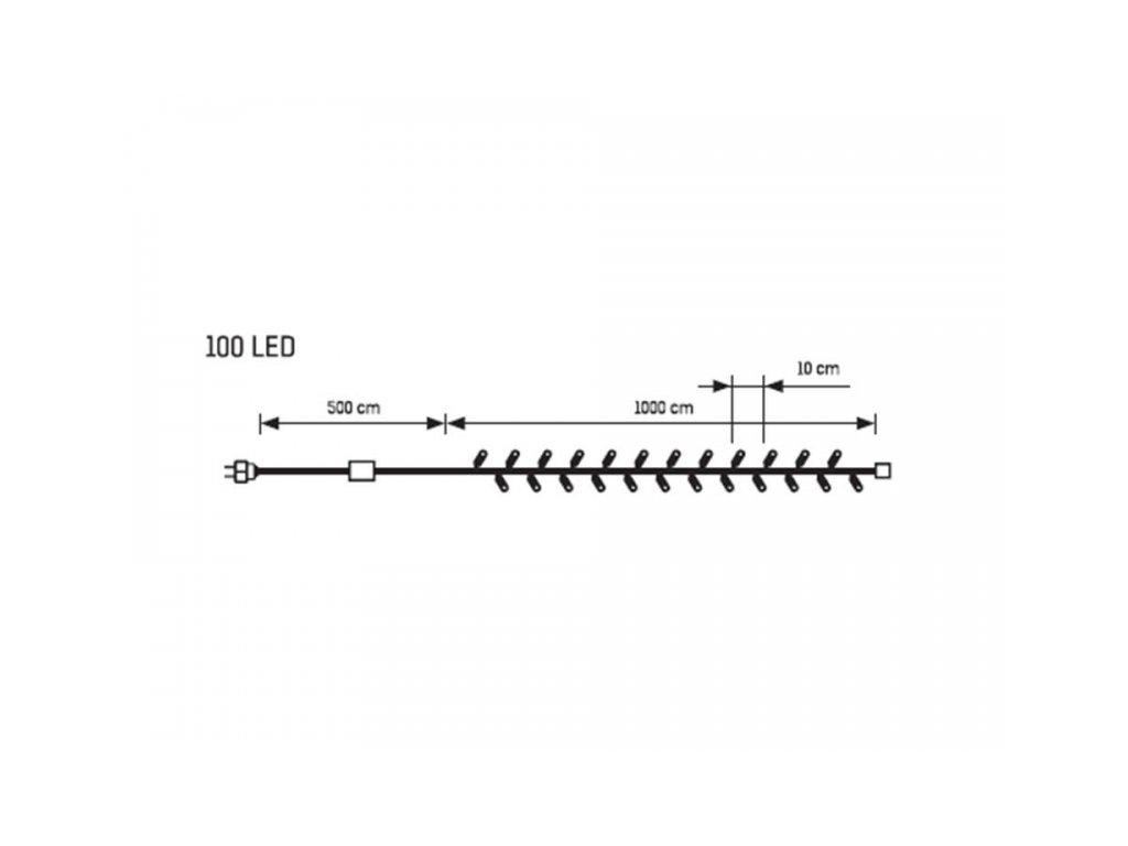 Světelný Led řetěz - 100 LED 10m teplá bílá