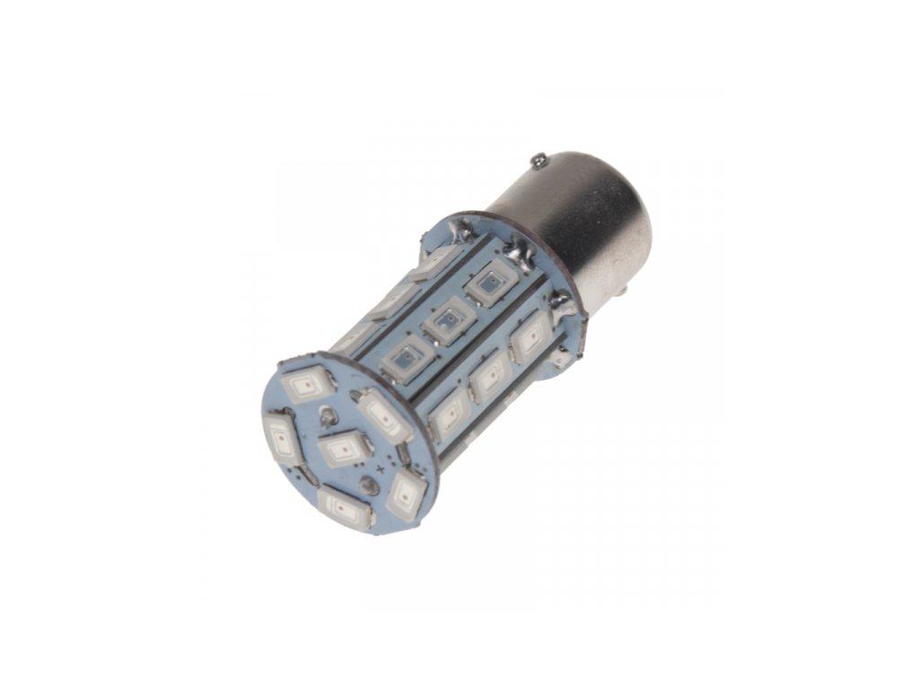 LED žárovka 12V s paticí BA15s červená 27LED/3SMD