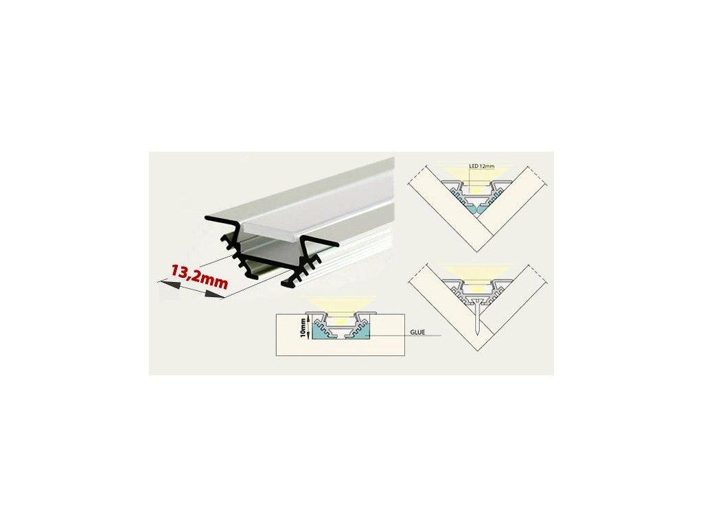 Profil pro LED pásky rohový PAC s čirým krytem 2m