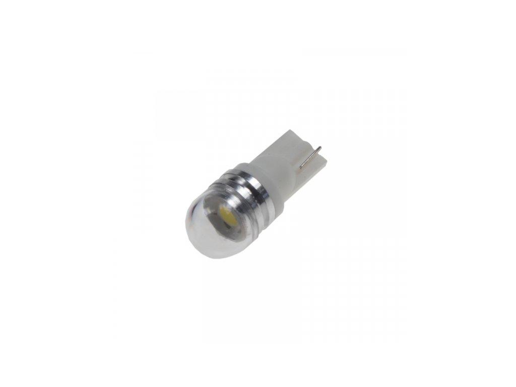 LED žárovka 12V T10 bílá 1LED/3SMD s čočkou