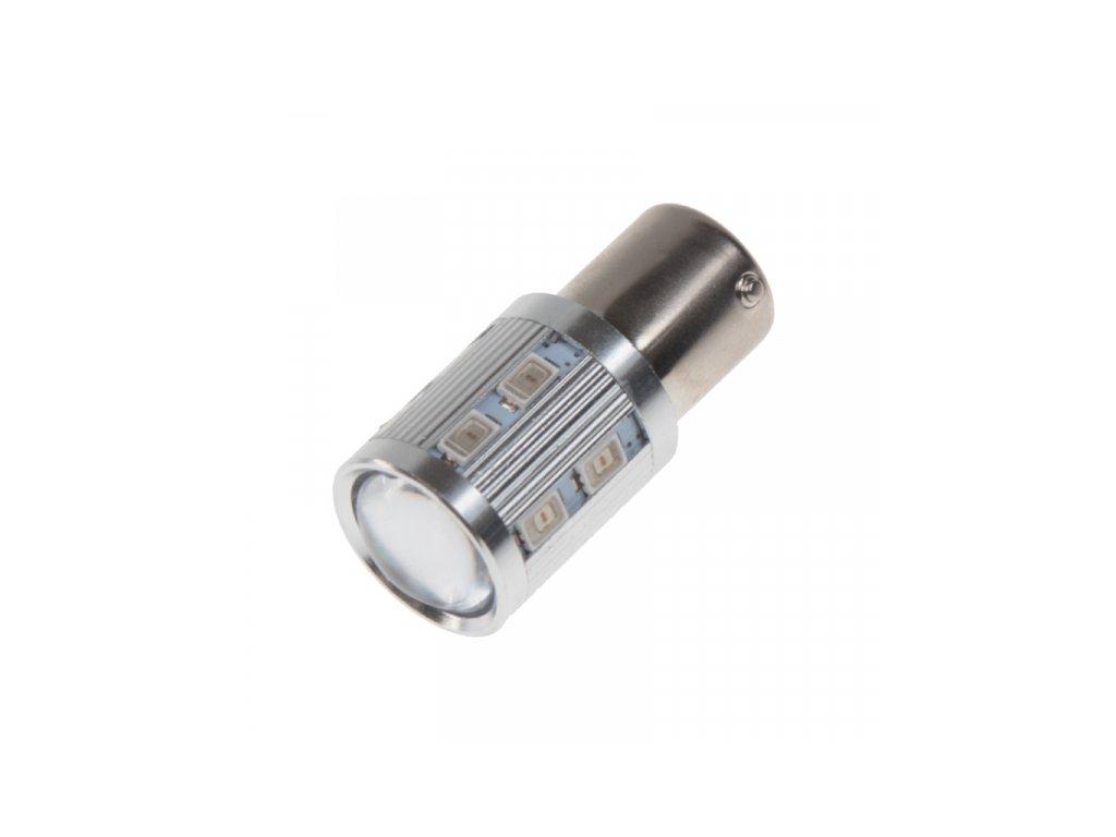 LED žárovka BAU15S oranžová 12SMD Samsung + 3W Osram 10-30V