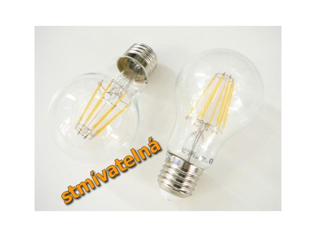 LED žárovka E27 DIMF8W FILAMENT - Teplá bílá