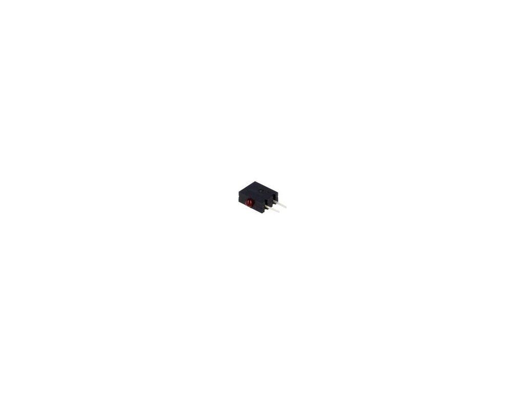 LED vodorovná,zakrytovaný červená 1,8mm Poč.diod: 1 20mA 40°