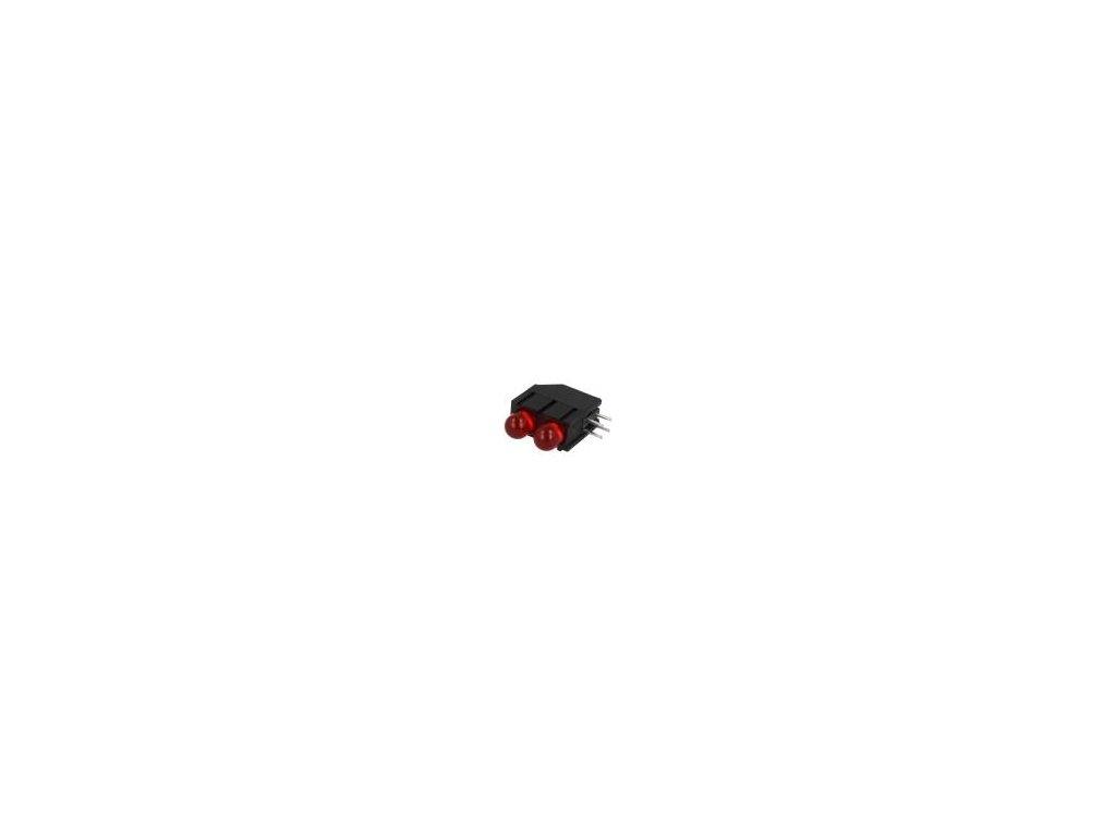 LED zakrytovaný červená 5mm Poč.diod: 2 20mA 60° 2÷2,5V