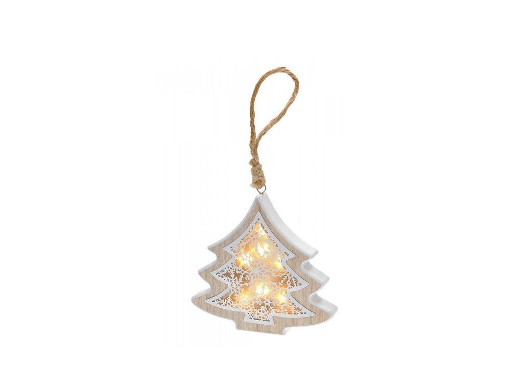 LED vánoční stromek, dřevěný dekor, 6LED, teplá bílá, 2x AAA