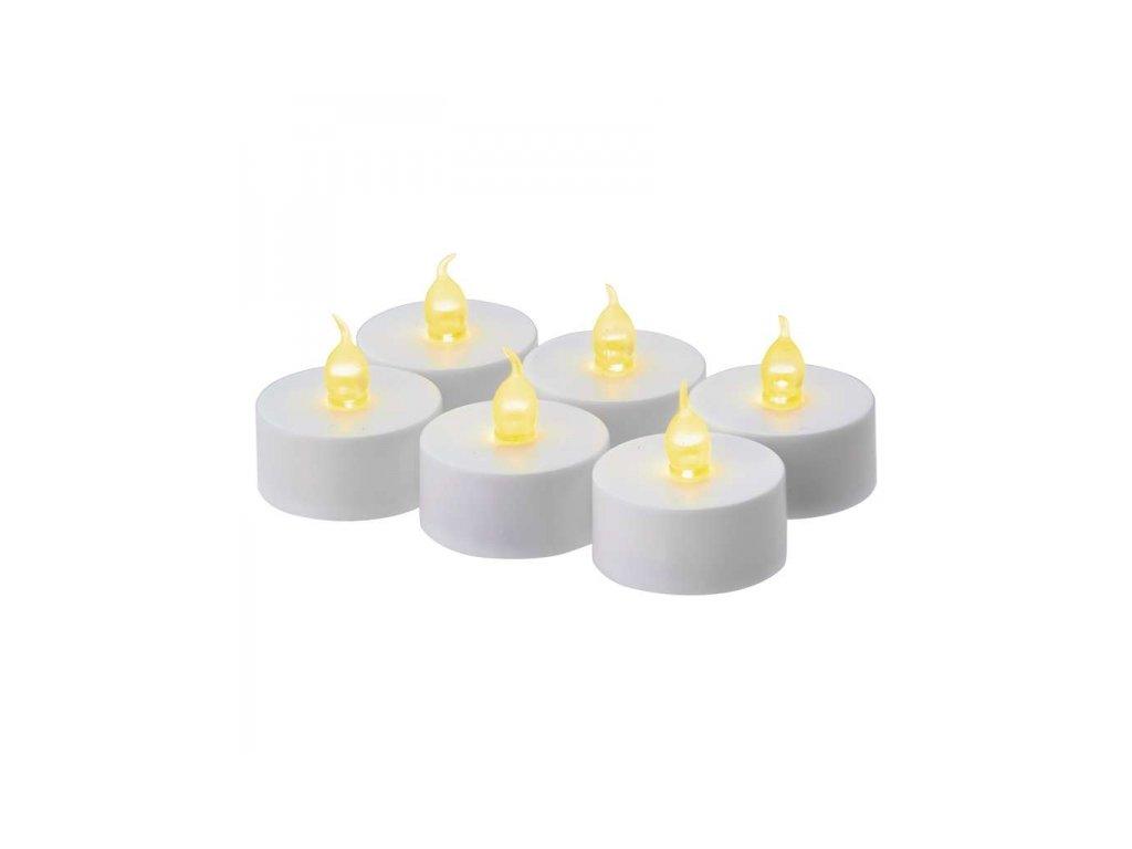 LED dekorace – svíčka, čajová, bílá, 6× CR2032, časovač
