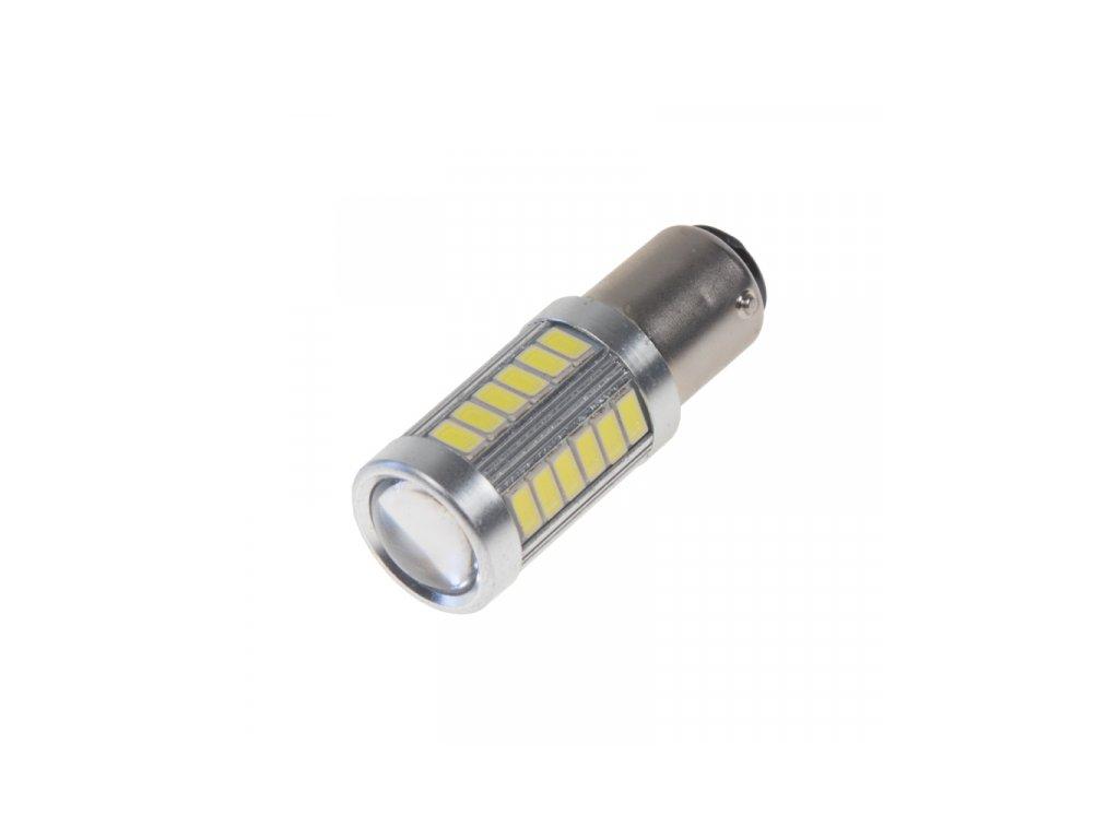 LED žárovka 12-24V s paticí BAY15D (dvouvlákno) bílá 33LED/5730SMD s čočkou