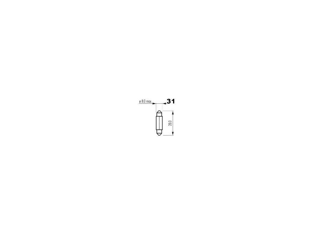 žárovka sufit 12V 3W SV7,5 8x29mm