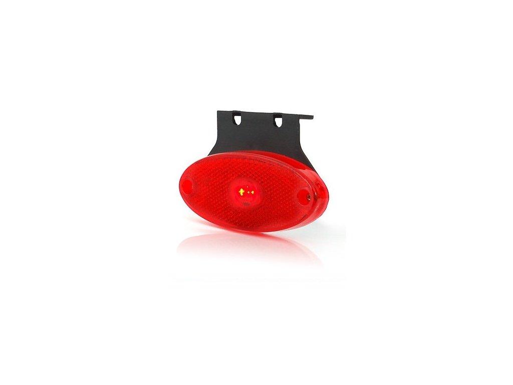 poziční světlo LED červené oválné s držák. 12-24V WAS