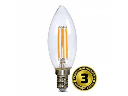 LED žárovka retro, svíčka 4W, E14, 3000K, 360°, 440lm
