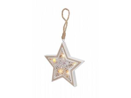 LED vánoční hvězda, dřevěný dekor, 6LED, teplá bílá, 2x AAA