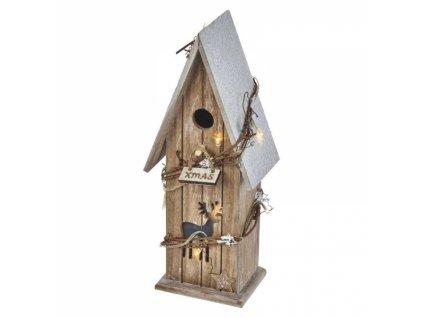 LED domek dřevěný, 33cm, 2×AA, teplá bílá, časovač