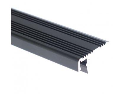 LED profil ST schodišťový černý - Profil bez krytu 1m