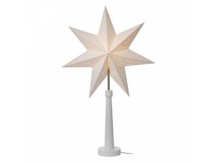 Svícen na žárovku E14 bílý s papírovou hvězdou, 46×70cm, vn.