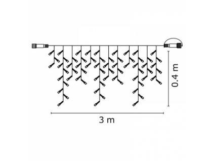 Profi LED spojovací řetěz černý – rampouchy, 3m,studená bílá