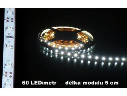 LED Pásek 12V bílý IP20 bílé pozadí 360lm 5m