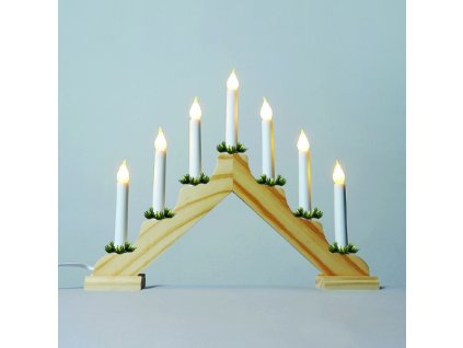 Adventní svícen 2262-130.T dubový s taženou žárovkou LED FILAMENT, 7x34V/3W                          KONST