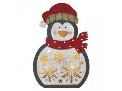 LED vánoční tučňák dřevěný, 30cm, 2× AAA, teplá bílá, čas.