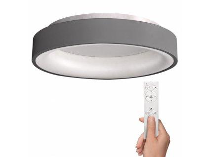LED stropní světlo kulaté Treviso, 48W, 2880lm, stmívatelné, dálkové ovládání, šedá