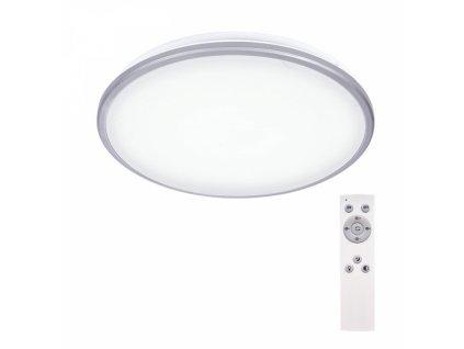 LED stropní světlo Silver, kulaté, 24W, 1800lm, stmívatelné, dálkové ovládání, 38cm