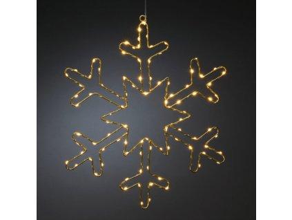 Zlatá sněhová vločka 1803-883, 100 jantarových LED, průměr 48 cm