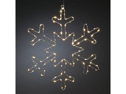 Stříbrná sněhová vločka 1803-993, 100 jantarových LED, průměr 48 cm