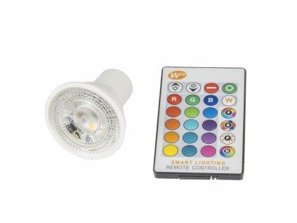 LED žárovka RGBW GU10 5W 60° - RGB + Studená bílá