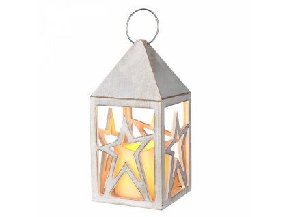 dřevěná lucerna s LED svíčkou, 2x AA