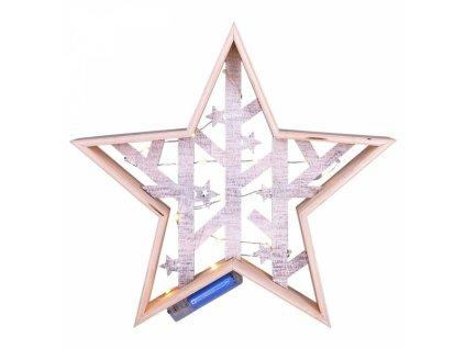LED vánoční hvězda, přírodní dřevo 2 x AA , teplá bílá