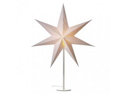 Svícen na žárovku E14 bílý s papírovou hvězdou, 45×67cm, vn.