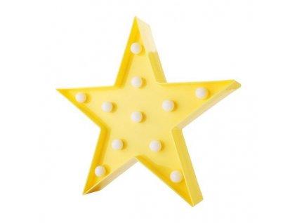 LED dekorace hvězda 28cm, žlutá