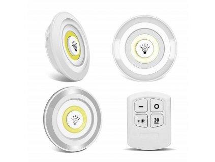 Bezdrátové LED světlo s dálkovým ovládáním, 3ks