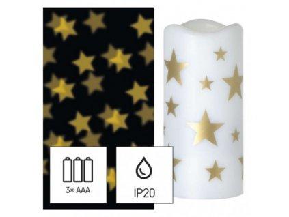 LED dekorativní projektor – hvězdičky, 3x AAA, vnitřní, teplá bílá