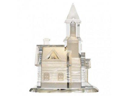 LED kostel akrylový, 21 cm, 3x AAA, vnitřní, teplá bílá