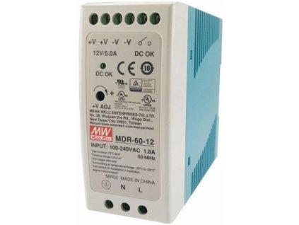 Průmyslový zdroj Mean Well MDR-60-12, 12V=/60W spínaný na DIN lištu