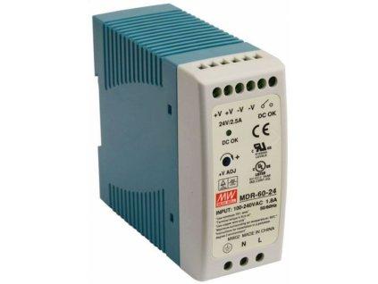 Průmyslový zdroj Mean Well MDR-60-24, 24V=/60W spínaný na DIN lištu