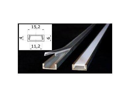 Hlníkový MICRO ALU Profil pro LED pásky s čirým krytem 1m