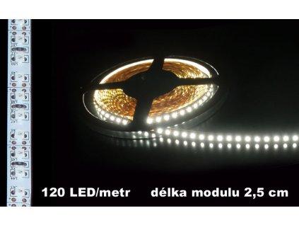 LED Pásek 12V bílý 120LED bílé pozadí 600lm IP20