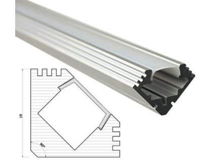 Profil pro LED pásky rohový 45° s mléčným krytem