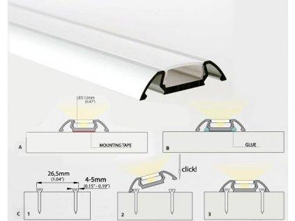 Profil pro LED pásky STOS s mléčným krytem
