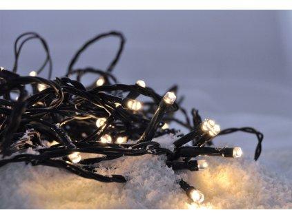 LED venkovní vánoční řetěz, 50LED, 5m, 3m přívod, 8 funkcí, IP44, 3x AA, teplá bílá