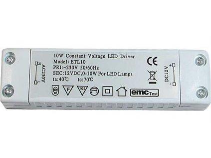 Zdroj - LED driver 12V DC/10W ETL-10