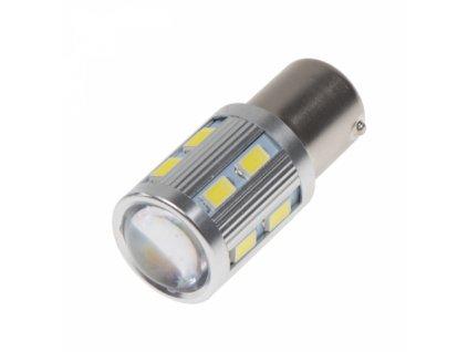 LED žárovka BA15S bílá 12SMD Samsung + 3W Osram 10-30V