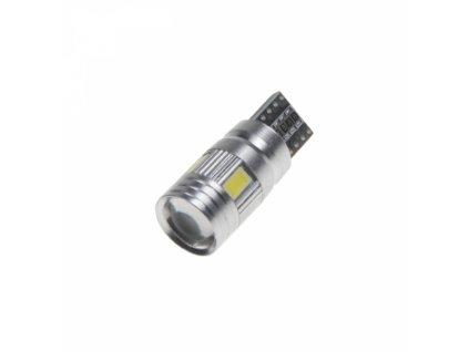 LED žárovka 12V T10 bílá 6LED/5630SMD s čočkou CANBUS