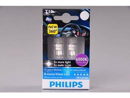 2ks žárovka LED 12V 5W W2,1x9,5d PHILIPS 6000K